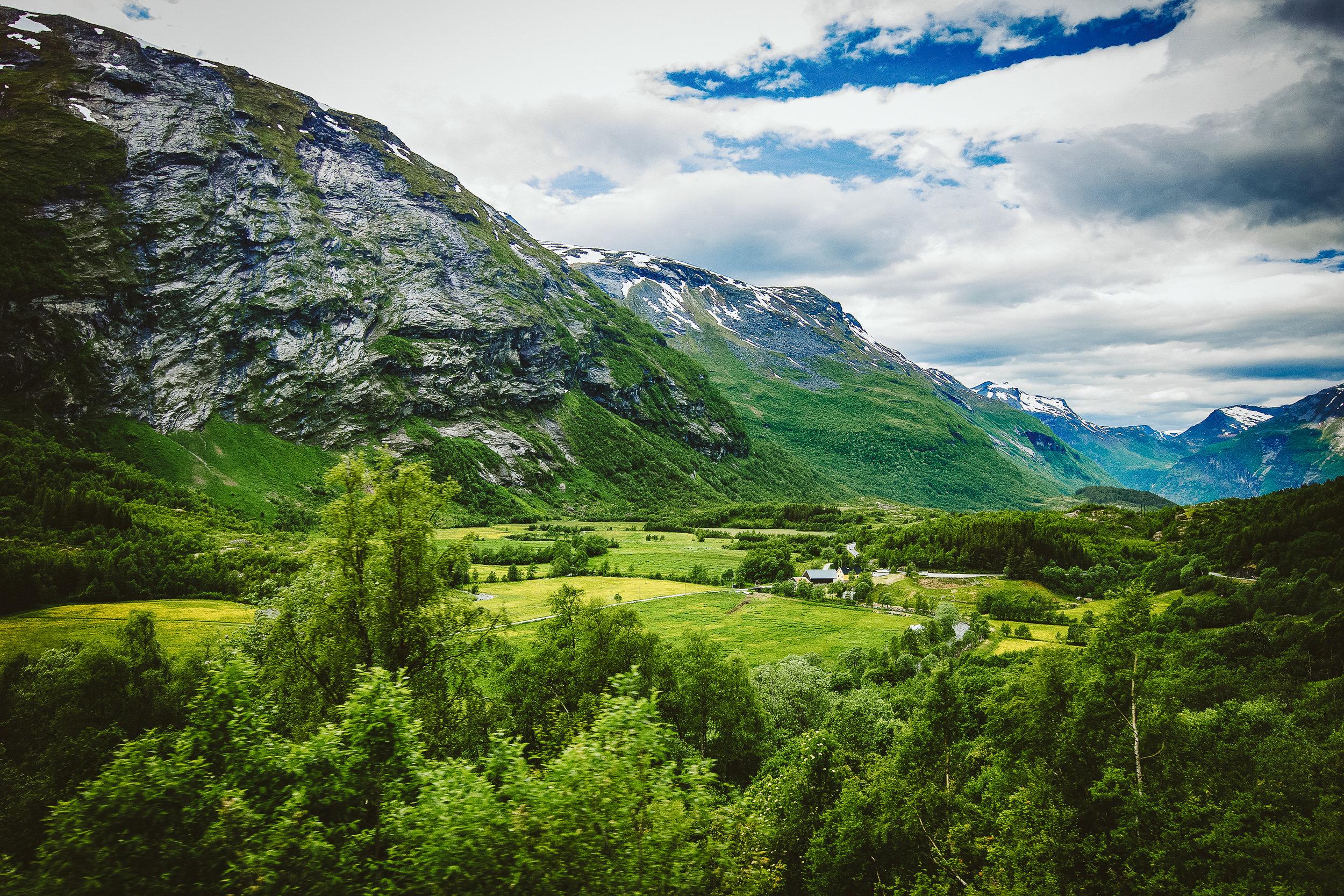 Farmlands in Geirangerfjord.