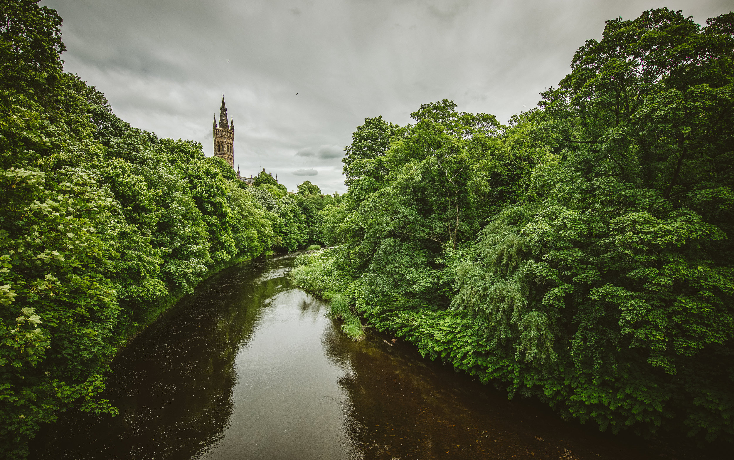 The River Kelvin with the Kelvingrove hanging out in the background.