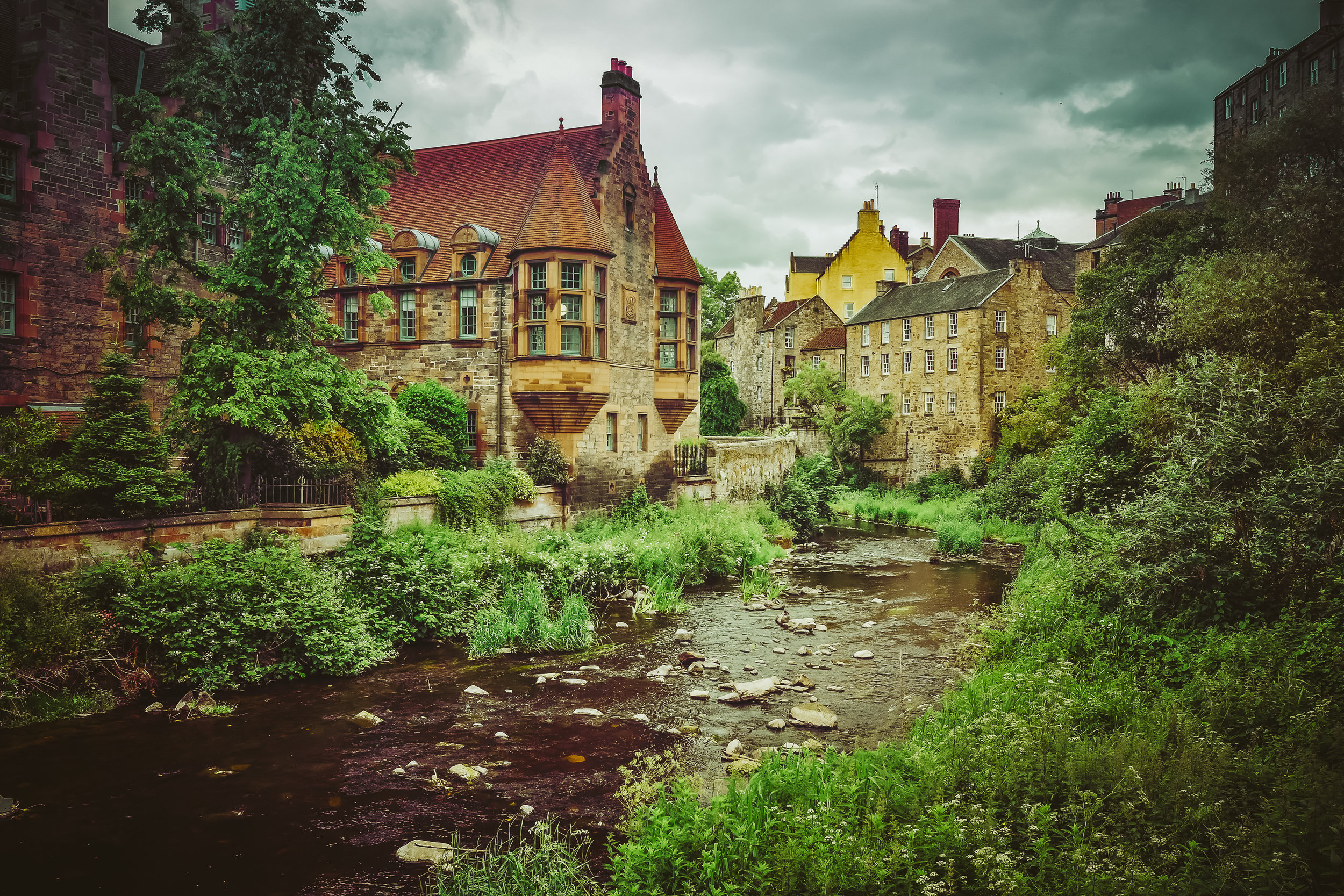 Dean Village, the most picturesque part of Scotland we saw that week. The Waters of Leith run through.