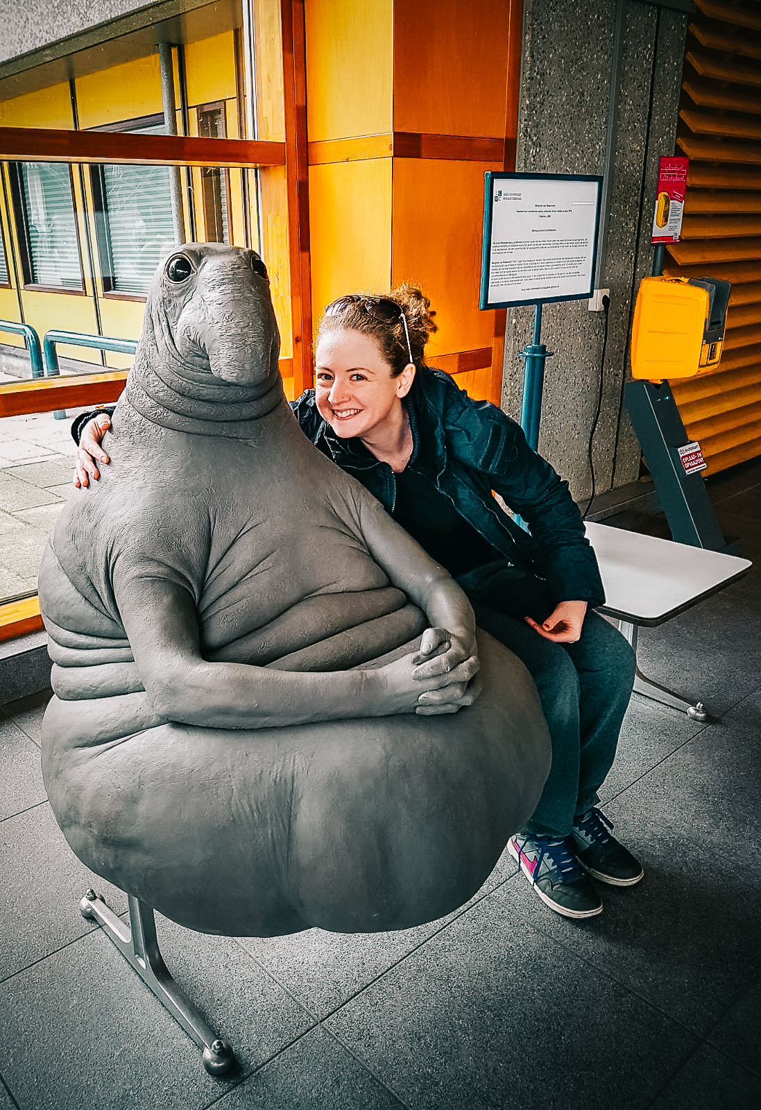 A rare pepe. Obviously I didn't take this photo but here I am next to perhaps my favourite sculpture in the world. He,  Zhdun as he is known in Russia, is a creation of a Dutch artist for the children's hospital . He is patiently waiting in the lobby of a Leiden hospital now.