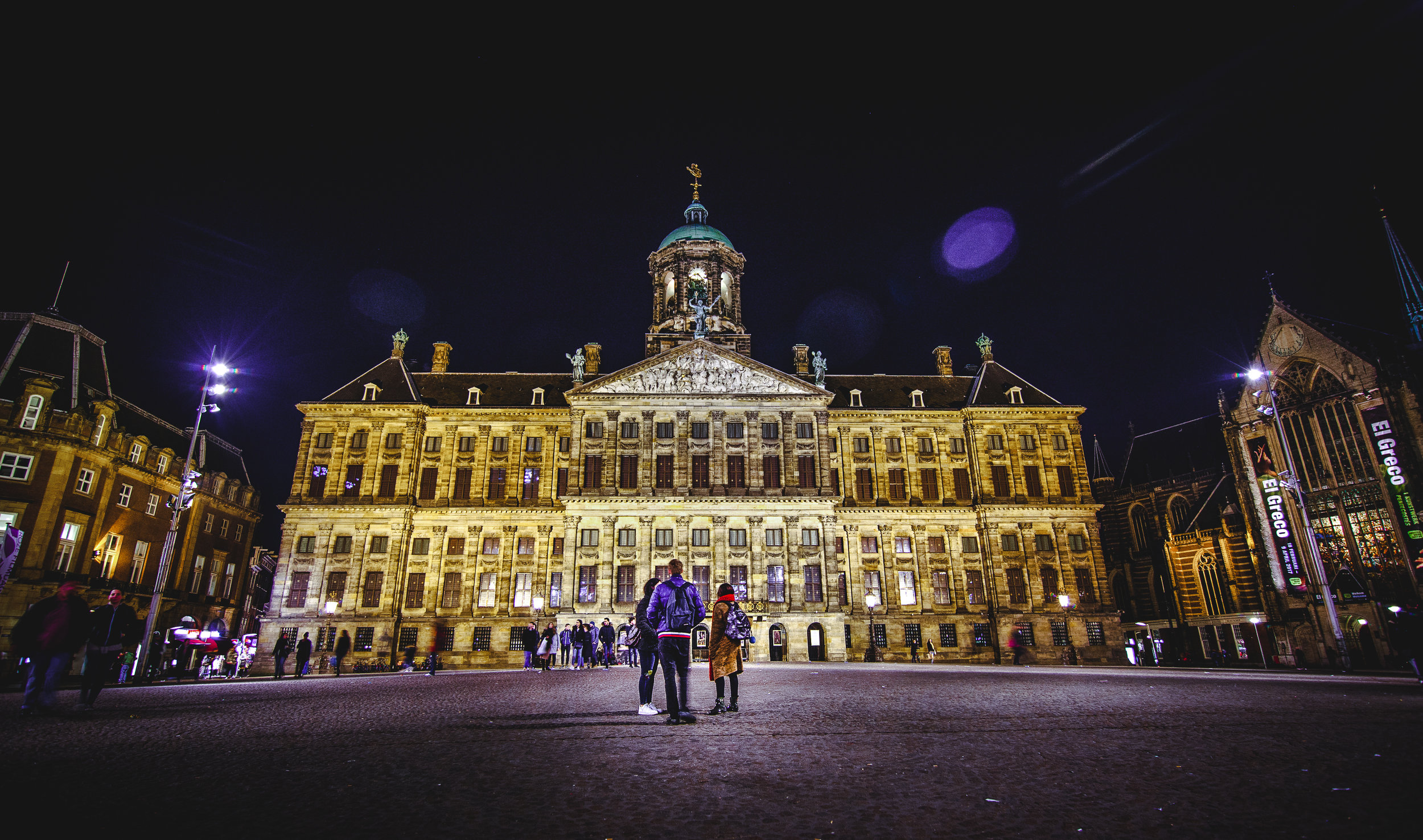 Dam Square at night again, from another direction.
