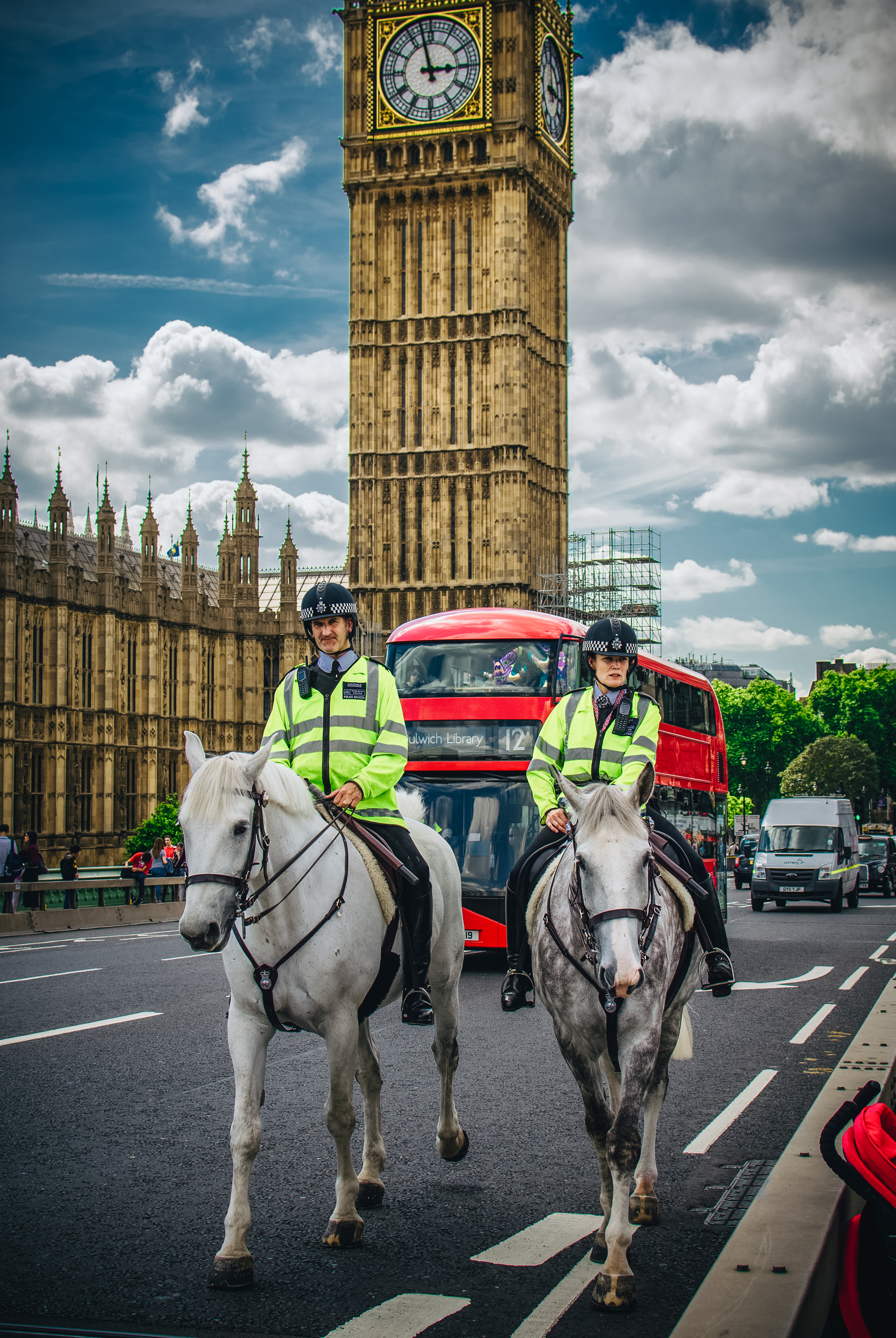 Police, police everywhere! Dapple grey is one of my favourite horse colouration.