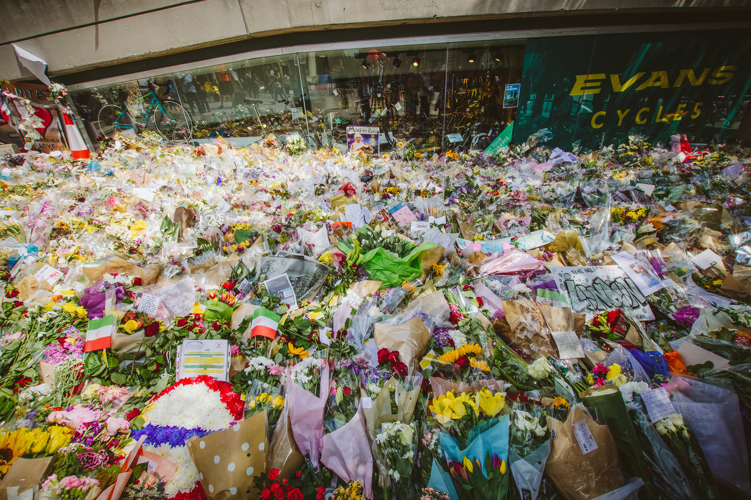 Flowers left near London Bridge after the attack.