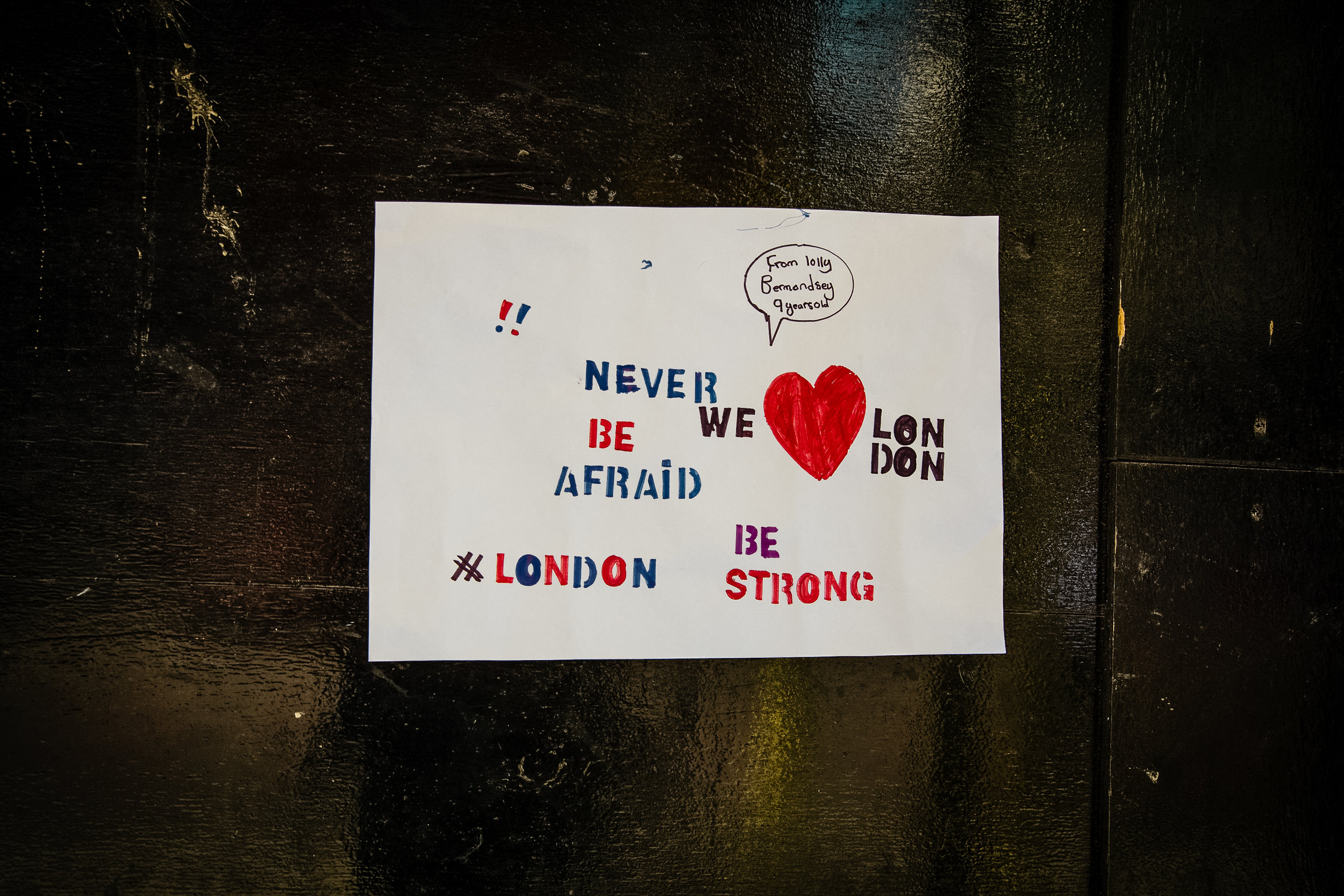 Signs like this were posted all over. London is not a city to be easily cowed.