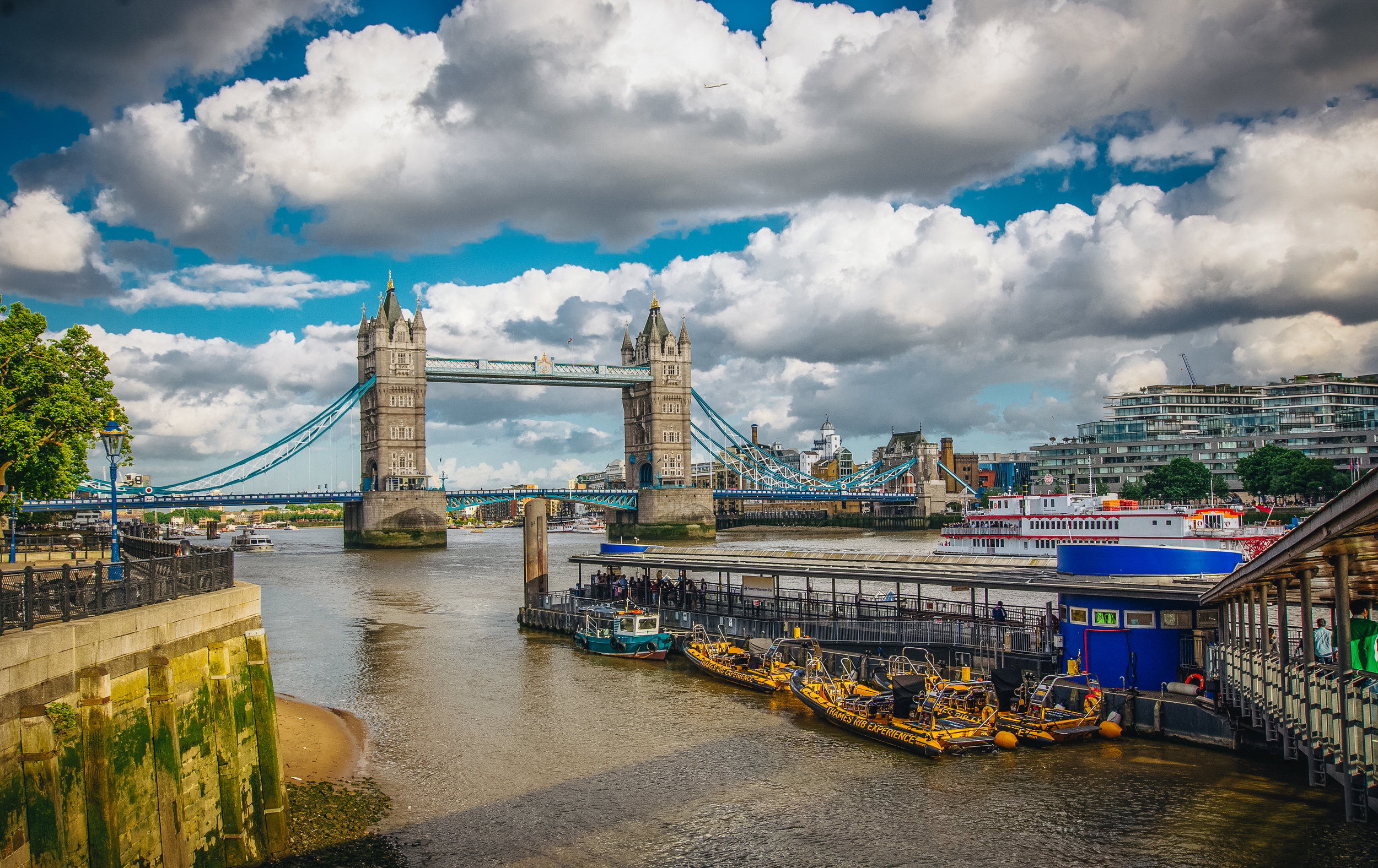 A typical view of Tower Bridge.