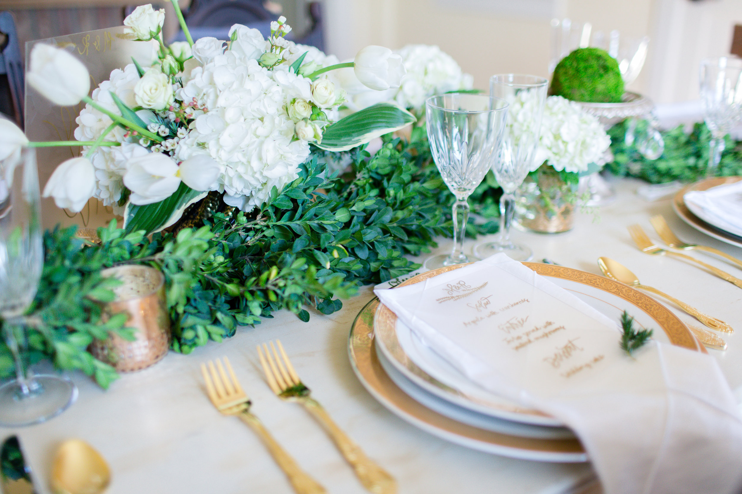 Gold Green and White Wedding
