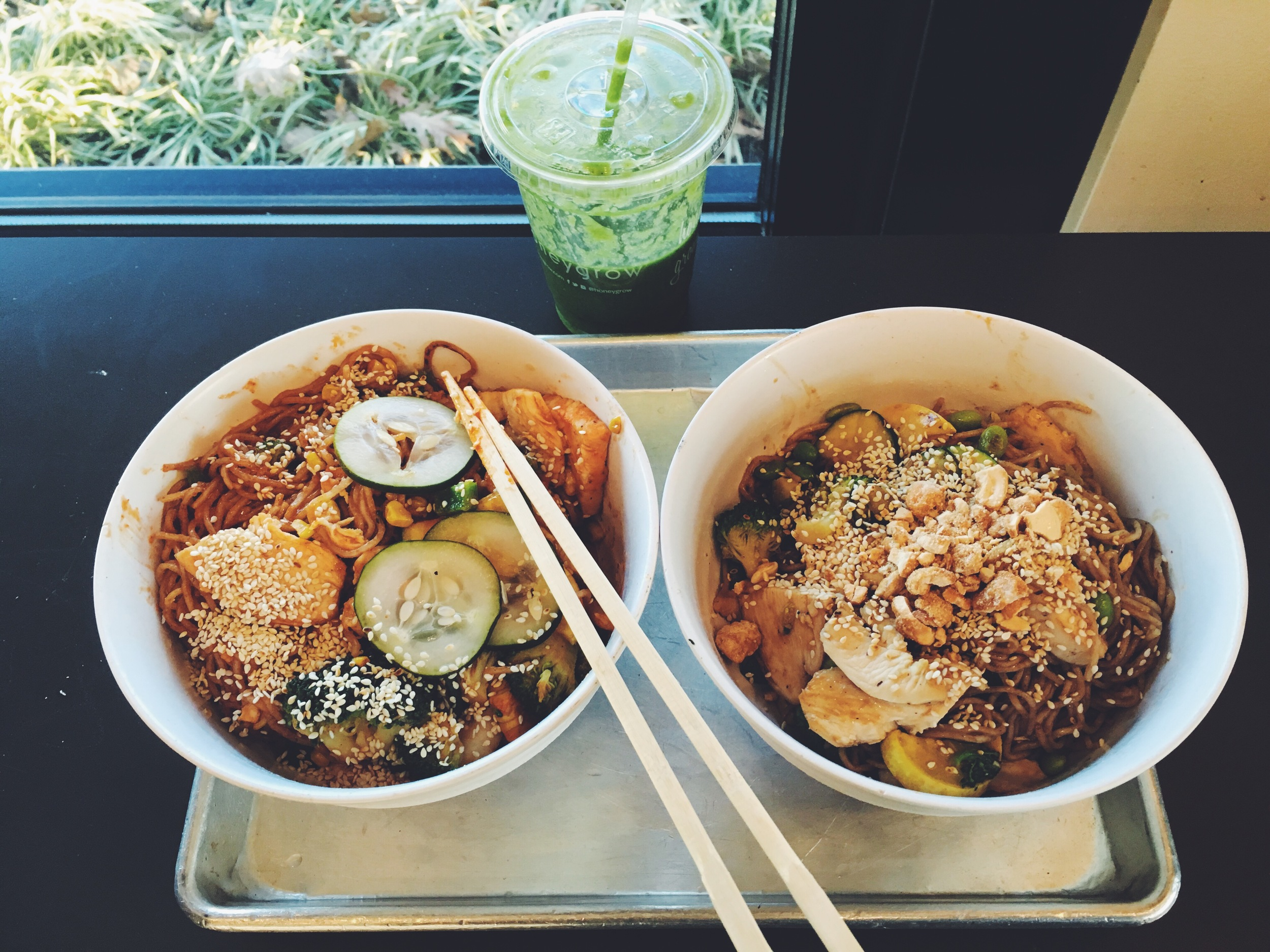 "My obsession began the minute I tried this kaleatta green smoothie, and personal stir fry from Honeygrow. I have never been a huge chipotle or any other ""better"" fast food place fan. So when I heard about Honeygrow I thought it was just another one of these places. I was so wrong! I love everything from the ingredients to the people who service you. (at least at my local Honeygrow) The order system is so easy and allows you to pick exactly what you want, personal style or one they have created. My boyfriend Zach and I love to cook all sorts of different foods, but Honeygrow is easily our new favorite ""fast"" food lunch spot!"