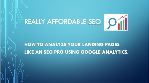 analyze landing pages using google analytics