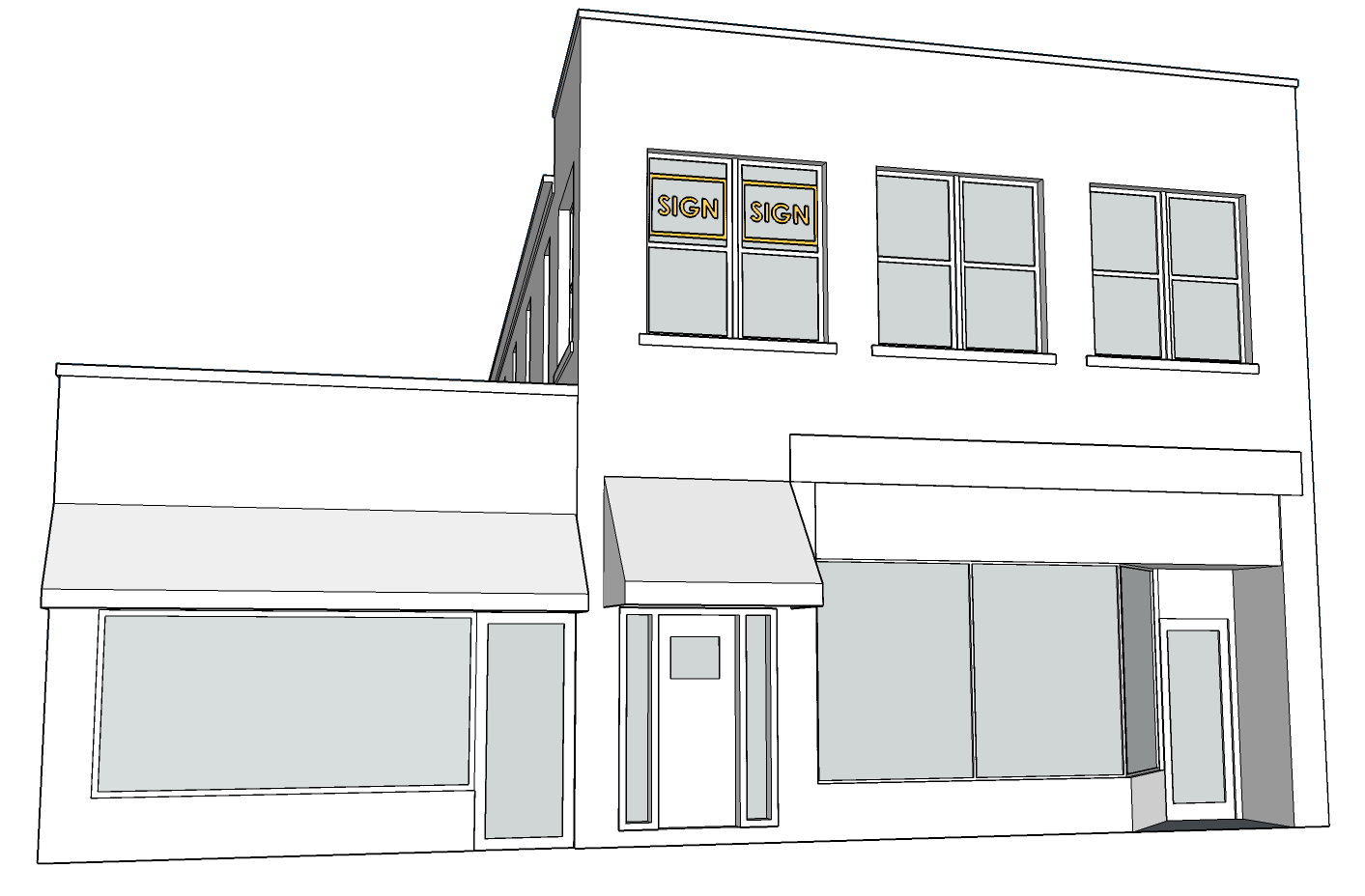 WINDOW SIGN    - Cannot be larger than 16 SF.   - Cannot be larger than 5% of the business's facade area.   - Neon signs cannot be larger than 6 SF.   - Font cannot be taller than 8 in.   - Only ONE on the second story per building.