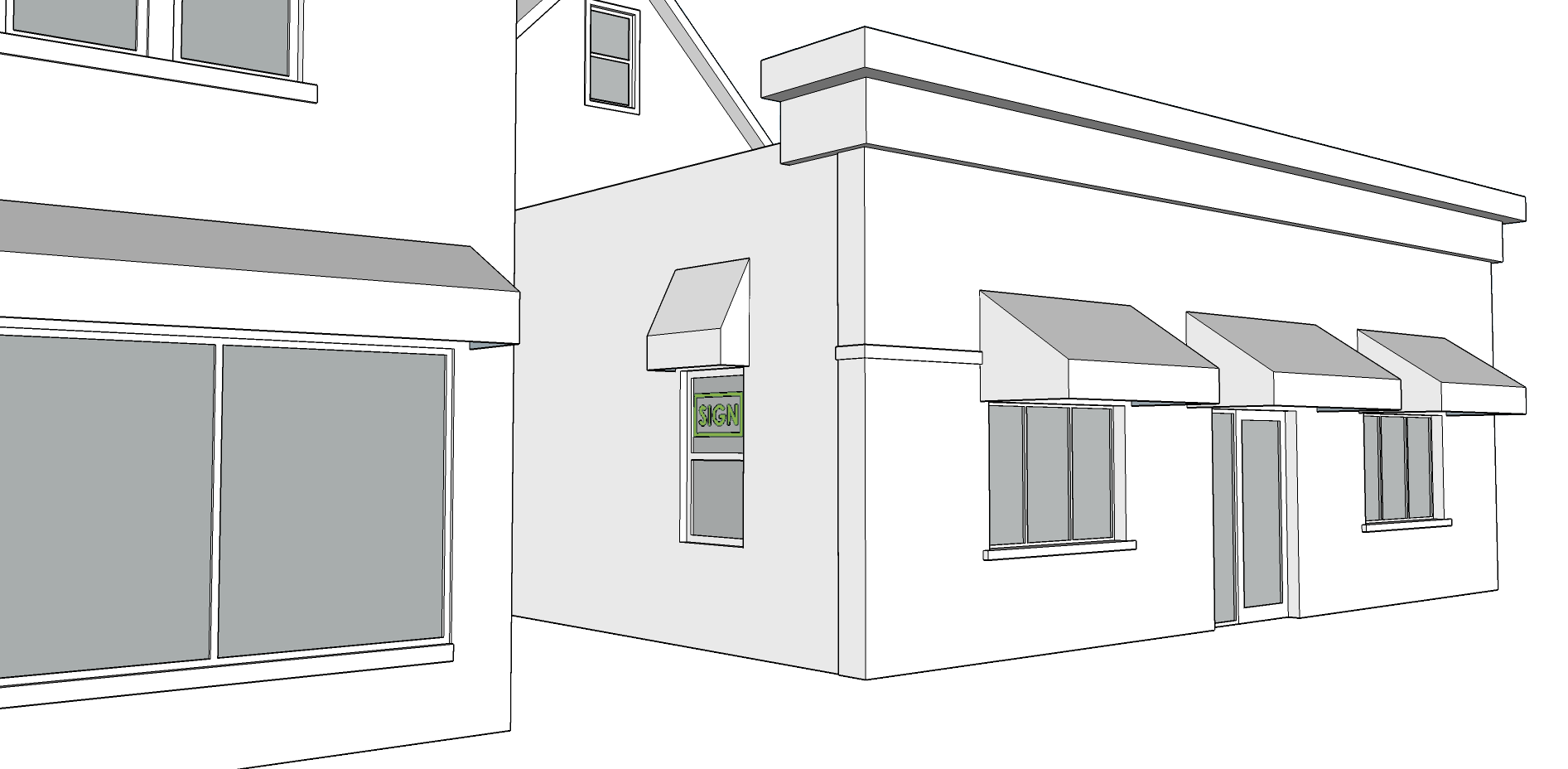 WINDOW SIGN   - Not to exceed 20 SF.  - Not to exceed 25% of window area.  - Neon signs cannot be larger than 6 SF.  - Font cannot be taller than 8 in.  - Cannot face an adjacent residential use.