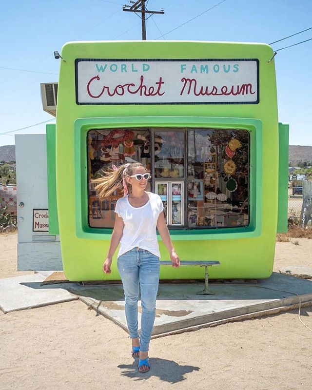 When in doubt, craft it out! Anyone else dying to visit the Crochet Museum in Joshua Tree!?⁠ 📷@ourpassportdiary⁠ ⁠ .⁠ .⁠ .⁠ .⁠ .⁠ .⁠ .⁠ .⁠ .⁠ #joshuatree #california #crochet #crafts #handmade #travel #explore #roadtrip  #bluesandals #limegreen #hippievibes #desert #camping #explore