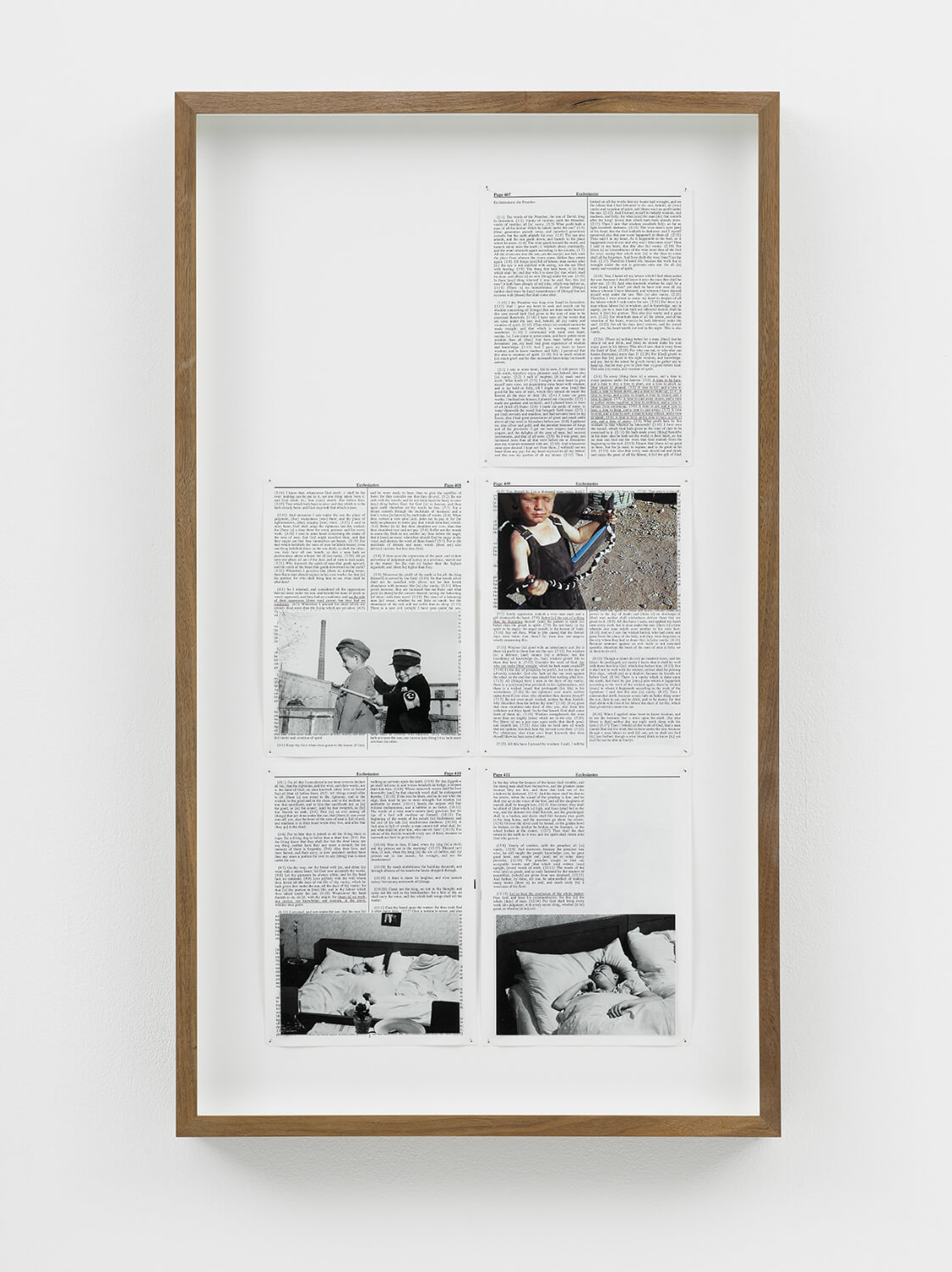 Ecclesiastes, Divine Violence, 2013, King James Bible, Hahnemühle print, brass pins, 425mm x 315mm, Image courtesy of Lisson Gallery, London