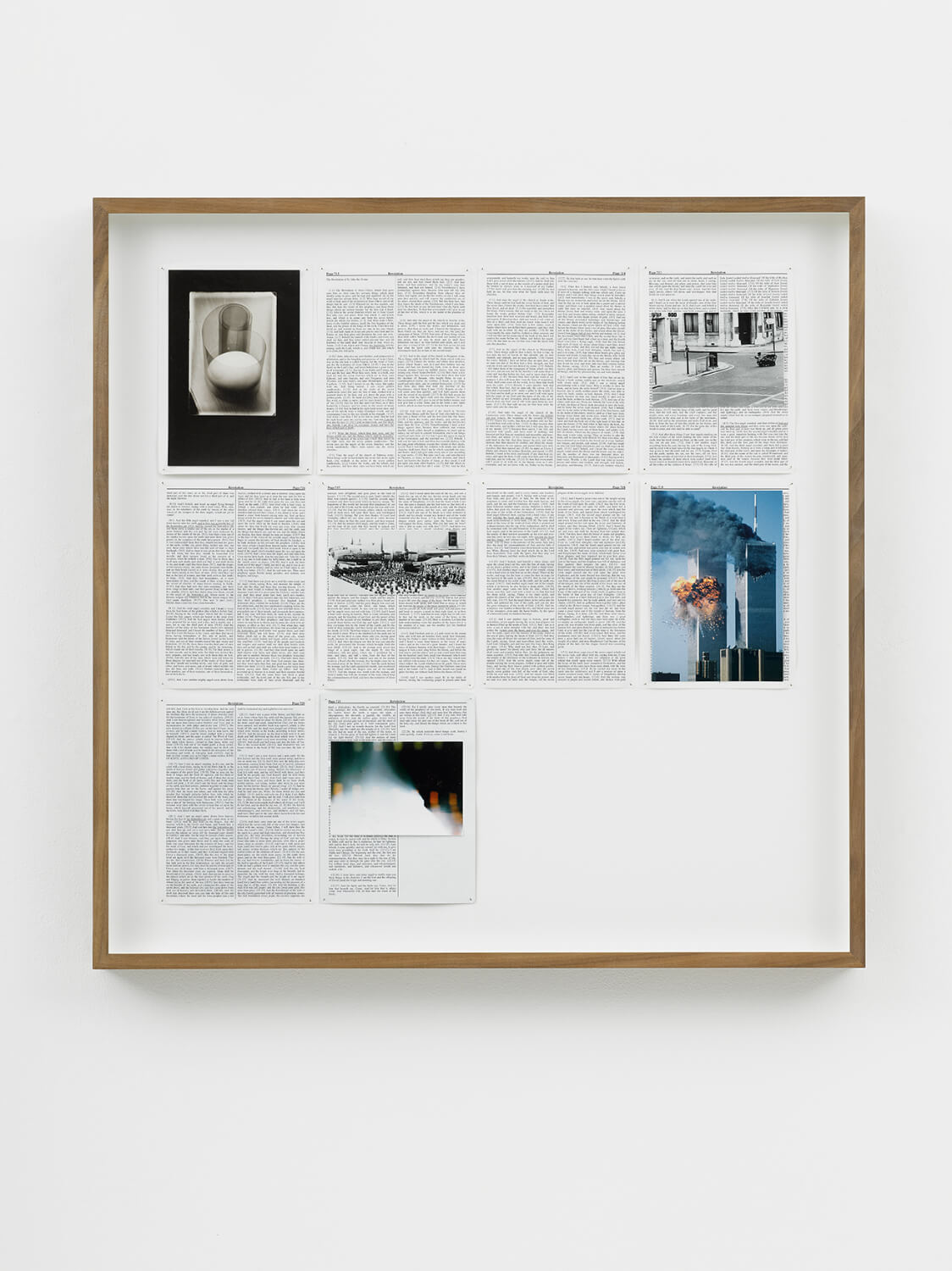 Revelations, Divine Violence, 2013, King James Bible, Hahnemühle print, brass pins, 788mm x 789mm, Image courtesy of Lisson Gallery, London