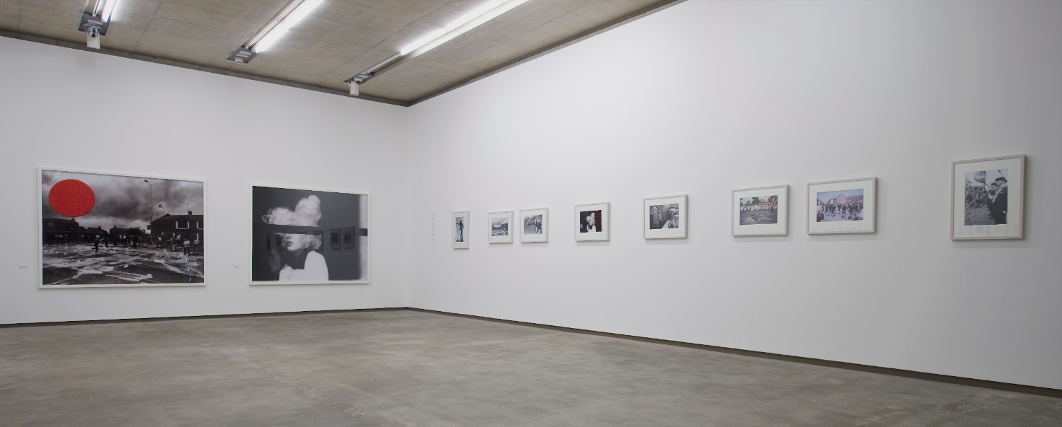 People in Trouble Laughing Pushed to the Ground (Contacts), Installation View, Northern Ireland (colon) 30 Years of Photography, Belfast Exposed, May 2013, image © Jordan Hutchings
