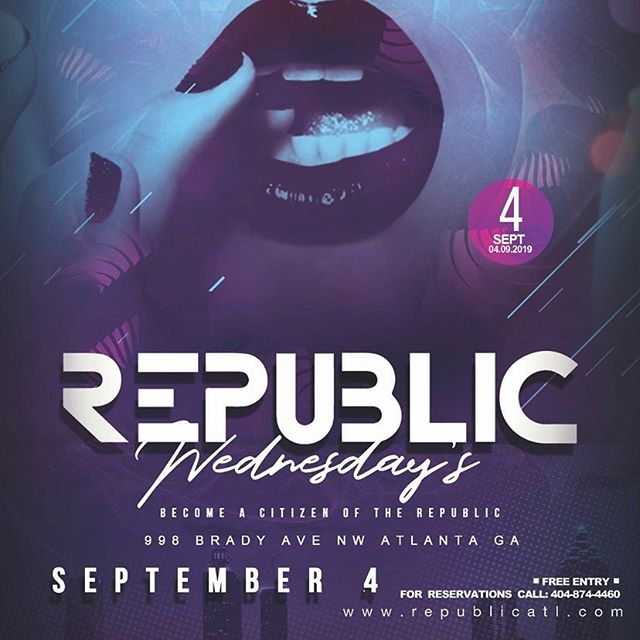Come party with us TONIGHT!!! @republicatlanta !! FREE ALL NIGHT!!!! We want to meet all my #dancers #models #actors #singers and #rappers . Event starts at 8pm and we are there all night! #Tag a friend