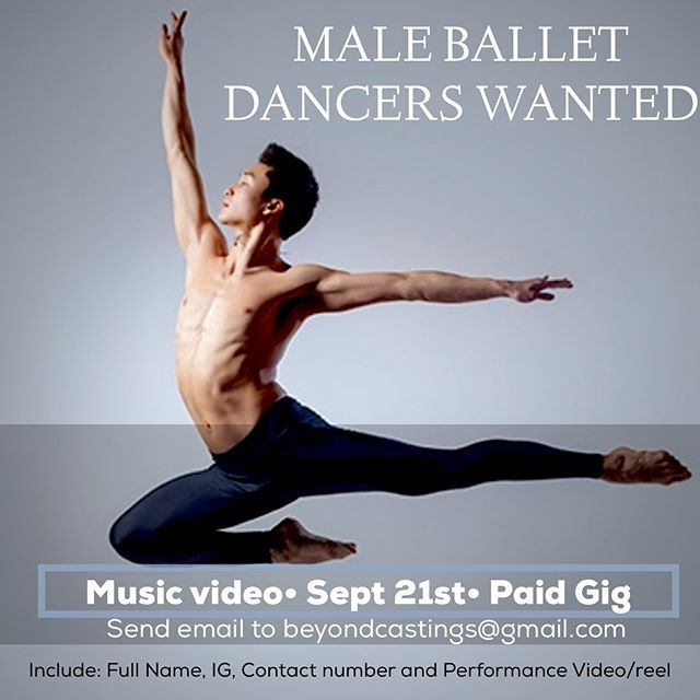Looking for a male ballet dancer!! All ethnicities!!! For a music video shooting on THIS SATURDAY SEPT 21st!!!! Email beyondcastings@gmail.com and include name, pics, video, ig and contact number. #Tag a #dancer!!! • • • #ballet #mendoballet #meninballet #balletdance #balletdancer #altantaballet #atlantaballetdancer #dancecompany #dancercasting #castingdancers  #atlcastings #beyondcastings