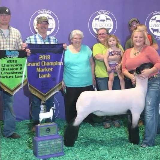 Customer Success! - Grand Champion Market Lamb 2018Michigan Livestock Expo Shown by Sarah Jane SterrettBred by Adam Family Farm Derek AdamMonkey Business X (Poe/Double F) 4D Gauge