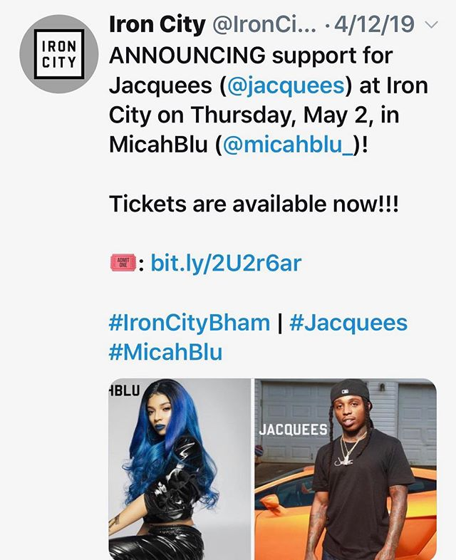 Birmingham I'm so excited to be opening for @jacquees at @ironcitybham 💙🙌🏽 see ya tomorrow 👋🏽😘