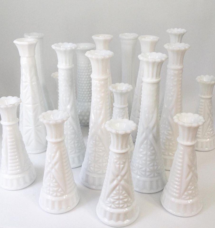 Milk Glass Candlestick Holders + Vases