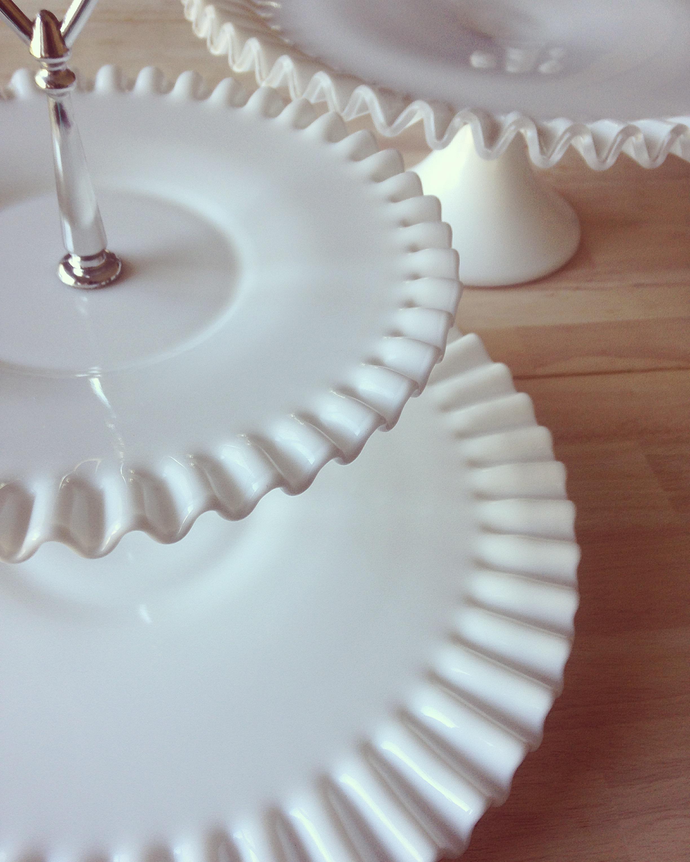 Milk Glass Cake Stand + Tier Tray