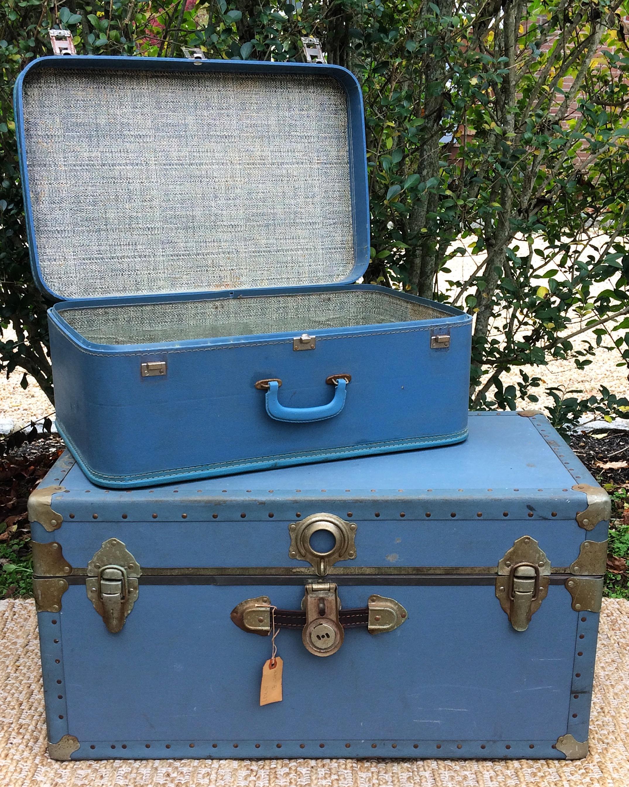 Blue Suitcase + Trunk