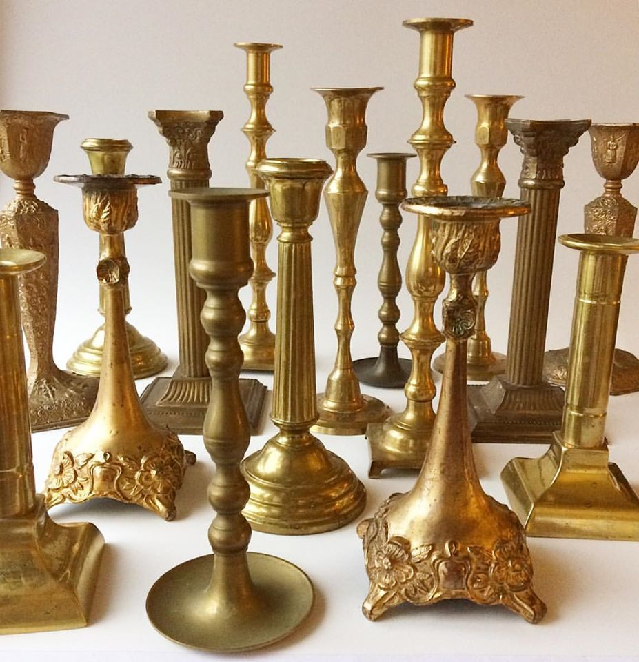 Ornate Brass Candlestick Holders