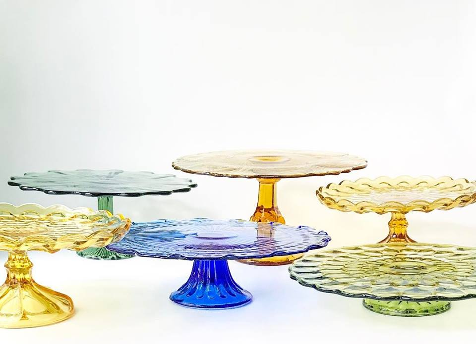 Colored Glass Cake Stands