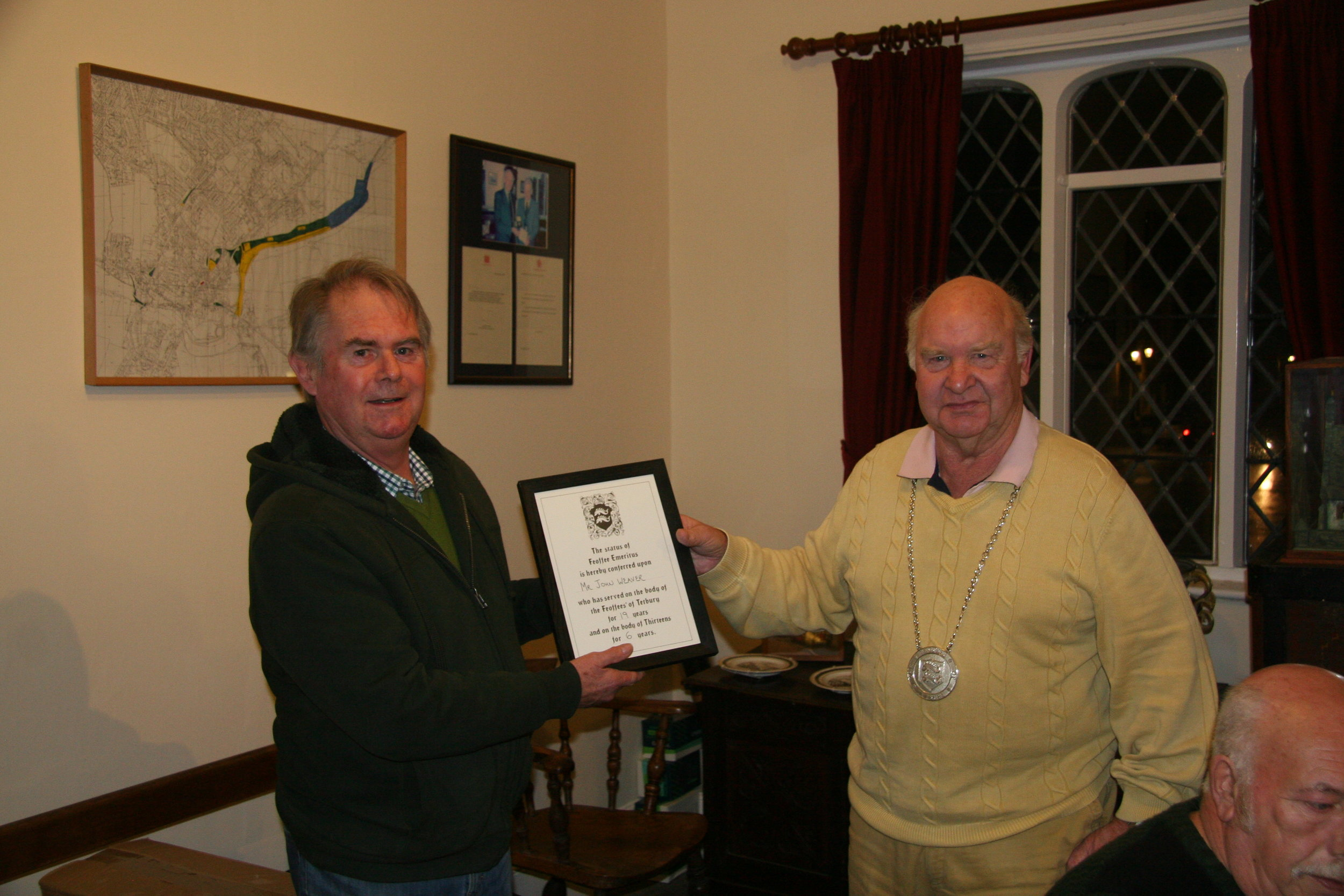 John Weaver receiving certificate