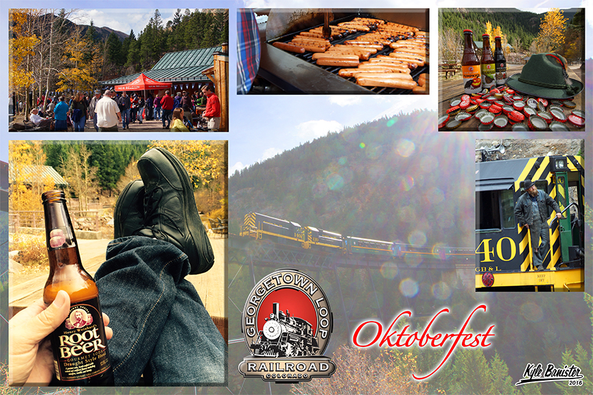 A collage of all things Oktoberfest hosted during the evening weekends in October at the Georgetown Loop. Enjoy bratwurst, hot dogs, a selection of different local beers, root beer for the kids, and more.