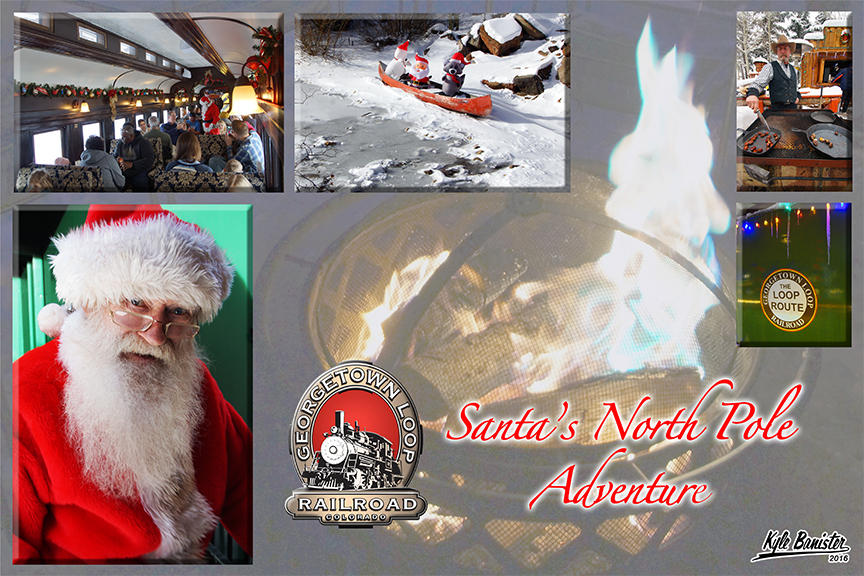 One of the most popular specialty trains at the historic Loop, this collage of photos features Santa's North Pole Adventure. A photo of a smiling santa, decorations on the Georgetown Loop Park property, and Santa visiting guests on the train gives the viewer a sense of what happens when they board this fantastic train tour.