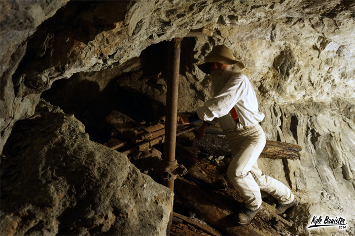 A photo of a reenactment of miner during a mining tour in the Lebanon Silver Mine at the Georgetown Loop Railroad in Georgetown, Colorado.