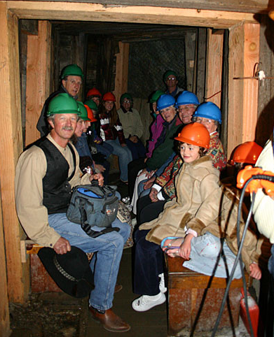 A group of tourists wait to see the mine.