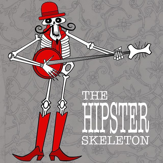 The Hipster Skeleton-A Cautionary Tale. Going to change things up over the next couple of days. An idea for a picture/colouring book for adults. Text to follow. #design #animation #book #hipster #skeleton
