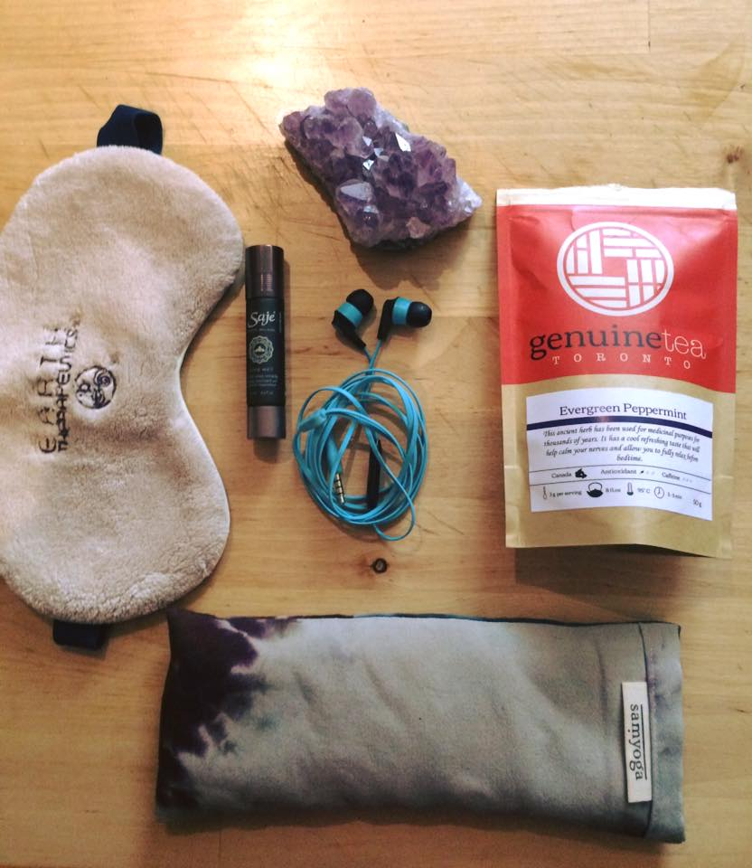 Meditation aids: eye pillow or sleep mask; ear buds to help block out any sounds; peppermint or chamomile tea to help you relax & sleep better; essential oils; and crystals to promote health and well being.