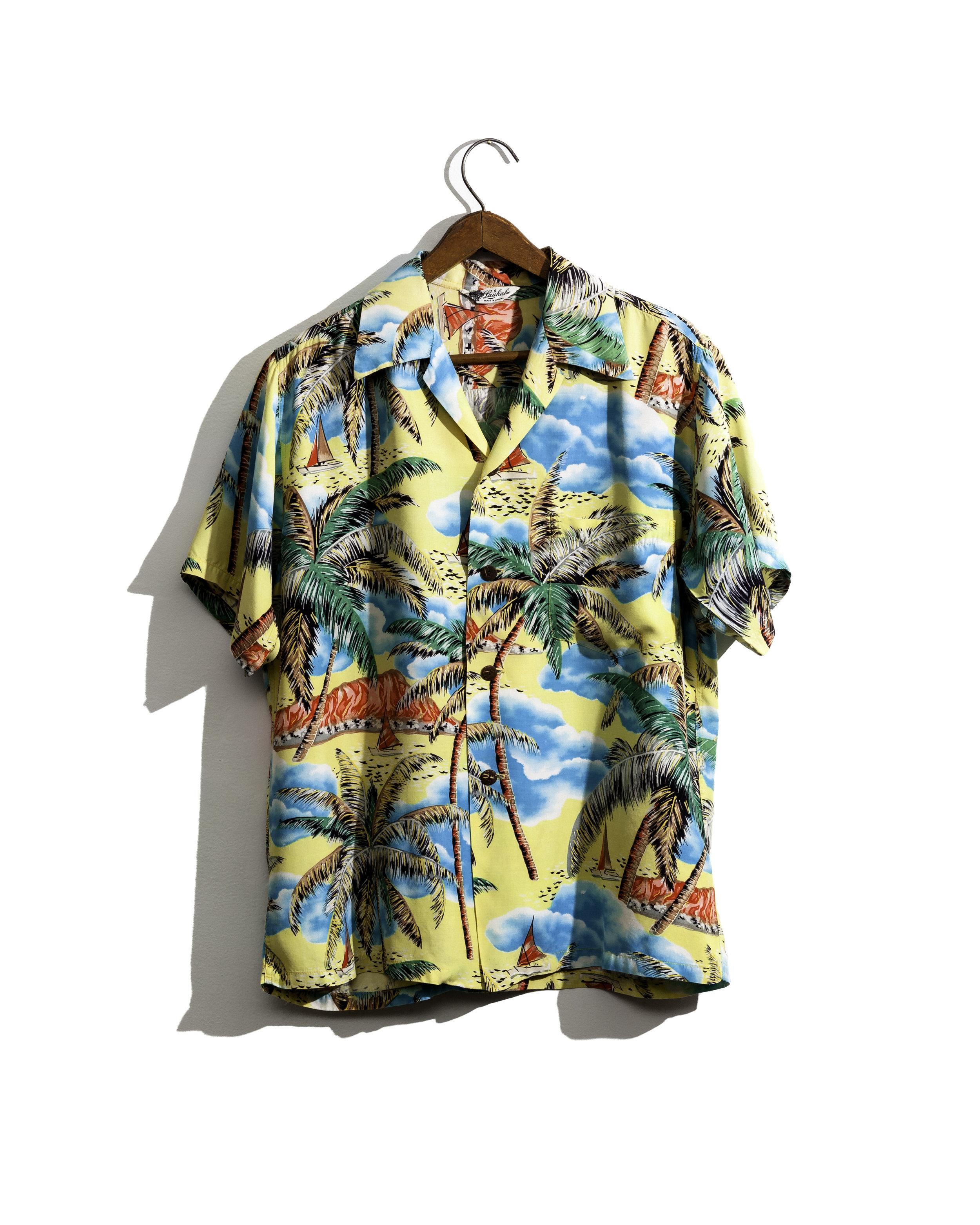 1950s Cold Rayon Tropical Print Shirt