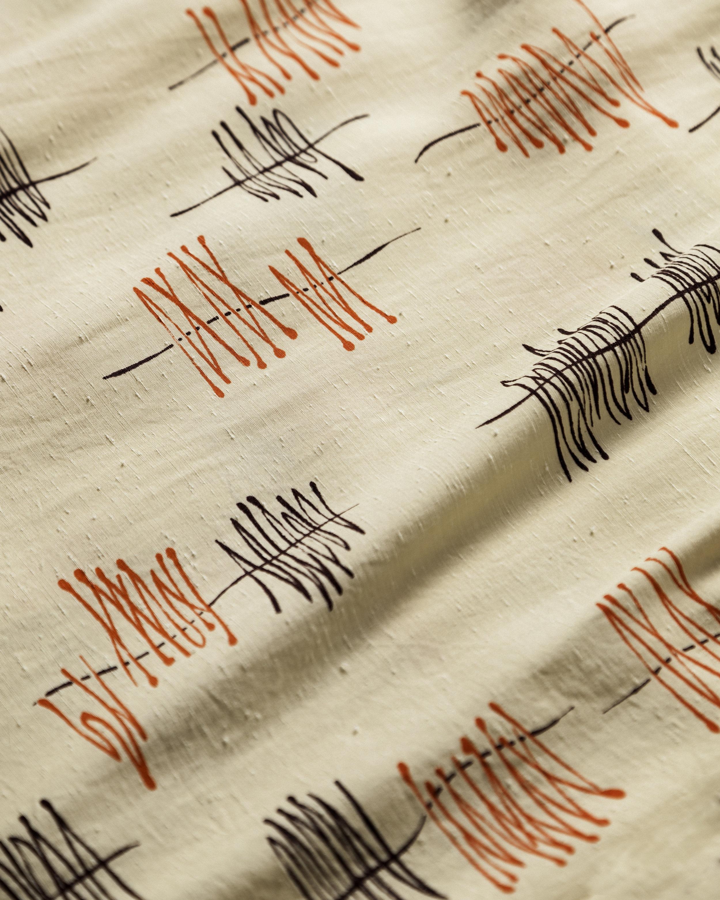 1950s Raw Silk Atomic Pattern Detail