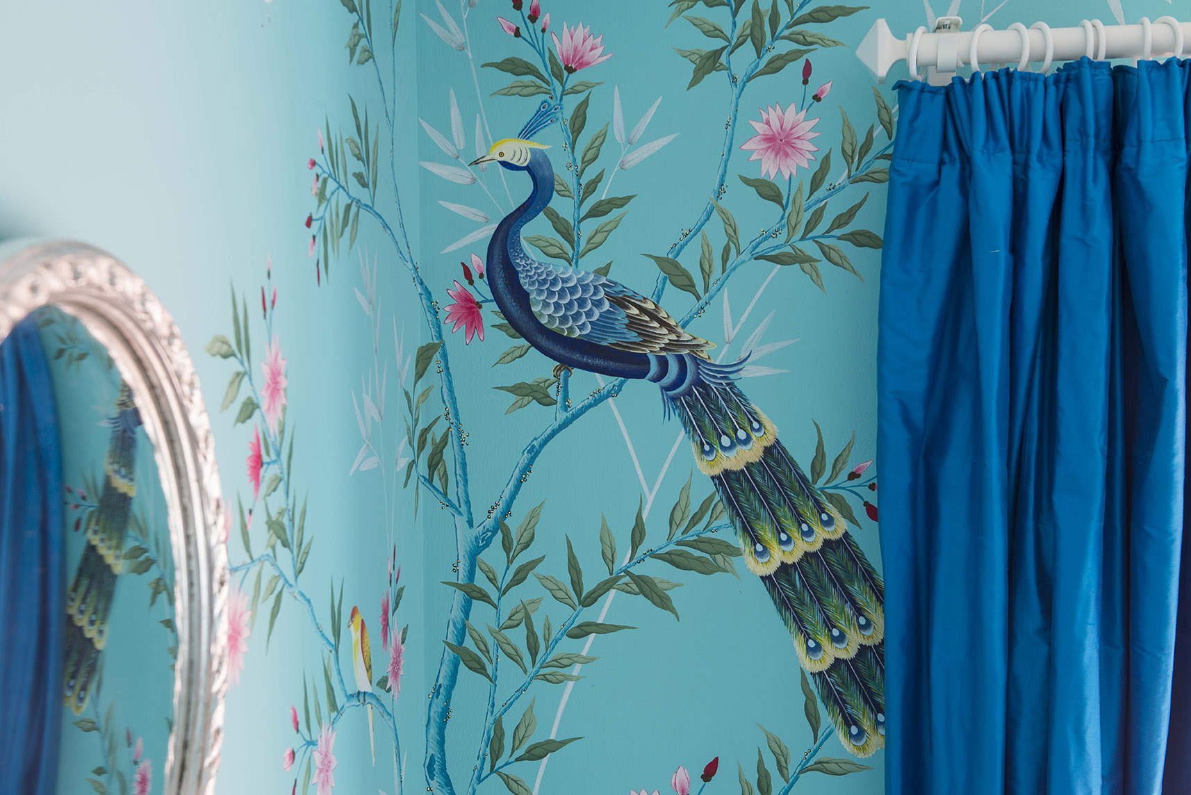 diane hill hand painted interiors turquoise chinoiserie mural nursery room peacock