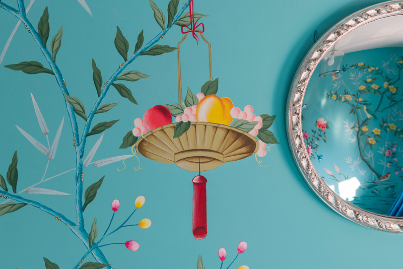 diane hill hand painted interiors turquoise chinoiserie mural nursery room fruit basket