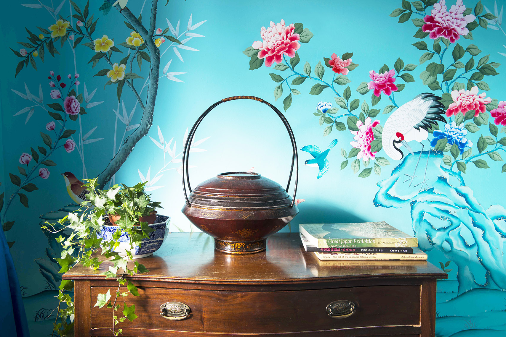 diane hill hand painted interiors turquoise chinoiserie mural nursery room bamboo