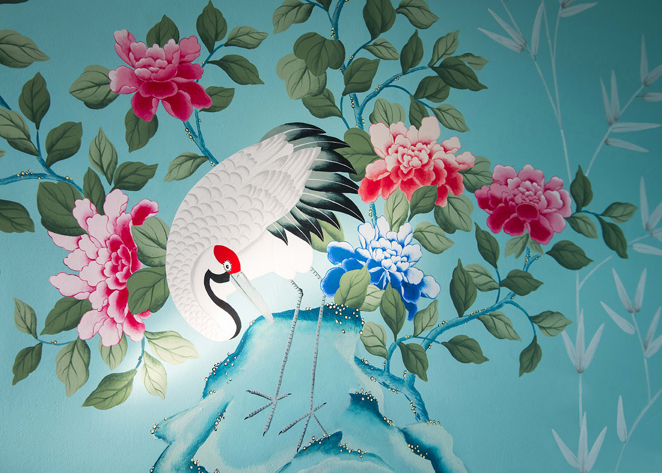 diane hill hand painted interiors turquoise chinoiserie mural nursery room detail