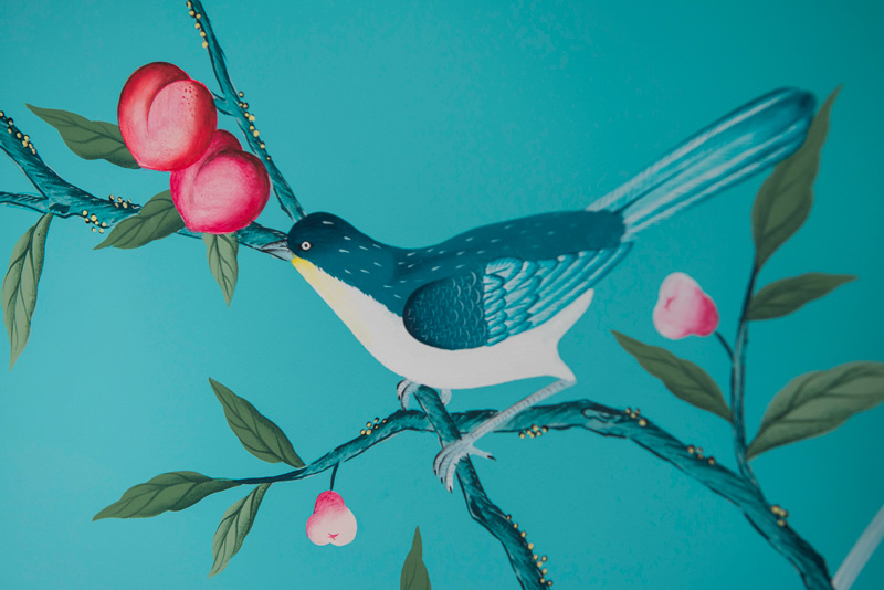diane hill hand painted interiors turquoise chinoiserie mural nursery room bird