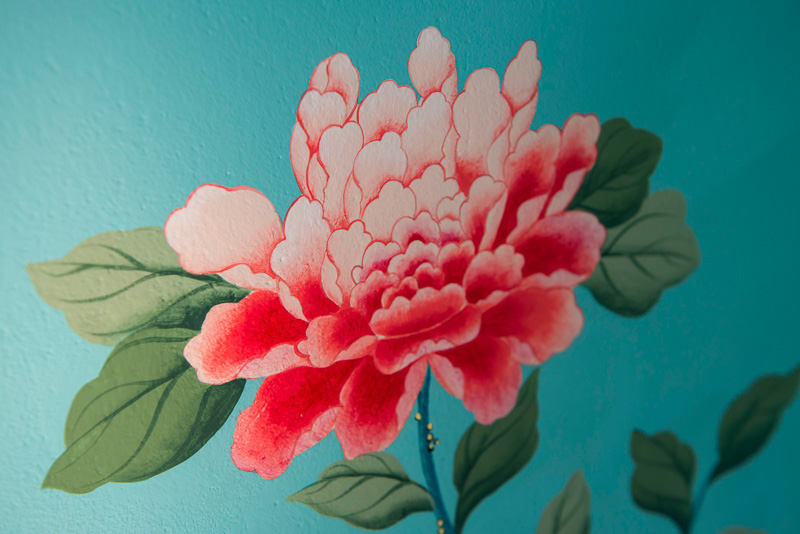 diane hill hand painted interiors turquoise chinoiserie mural nursery room peony