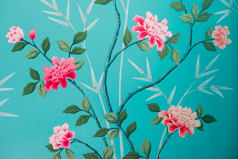 diane hill hand painted interiors turquoise chinoiserie mural nursery room peonies