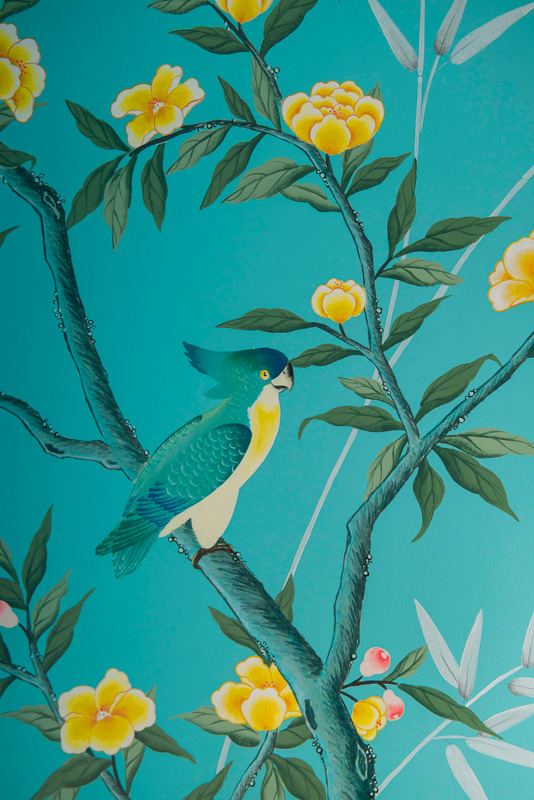 diane hill hand painted interiors turquoise chinoiserie mural nursery room parrot