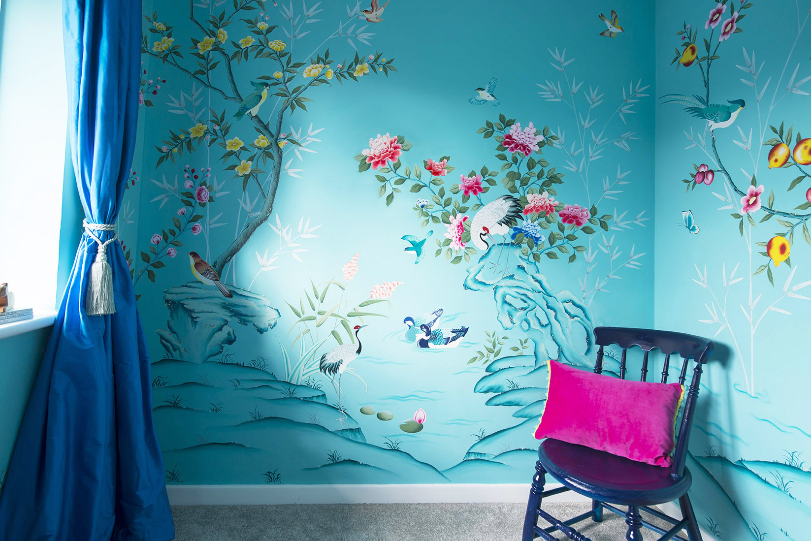 diane hill hand painted interiors turquoise chinoiserie mural nursery room