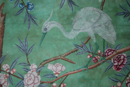 Detail from the Chinese wallpaper in the State Bedroom at Erddig, hung in the 1770s. ©National Trust/Andrew Bush