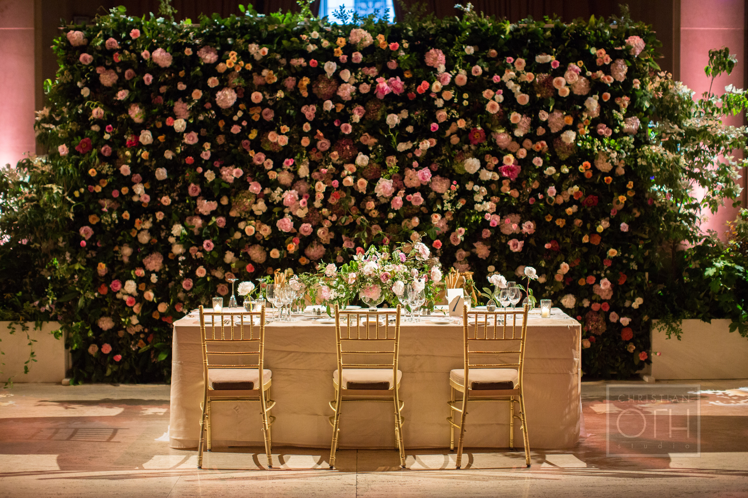 Flower wall at Cipriani wedding by Ang Weddings and Events