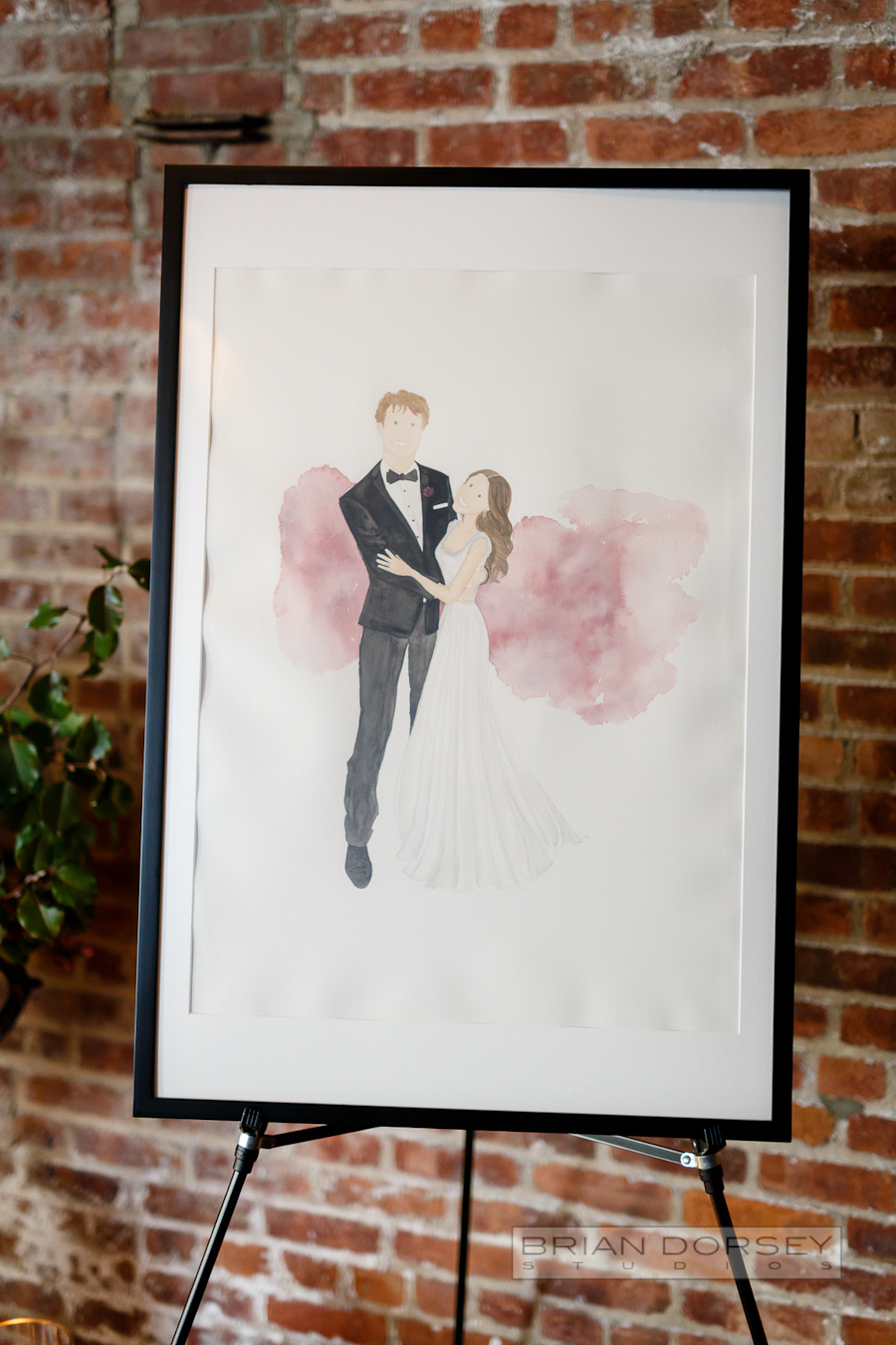 Liberty Warehouse Wedding | Wedding Planning Ang Weddings and Events | watercolor portrait by Abe Design