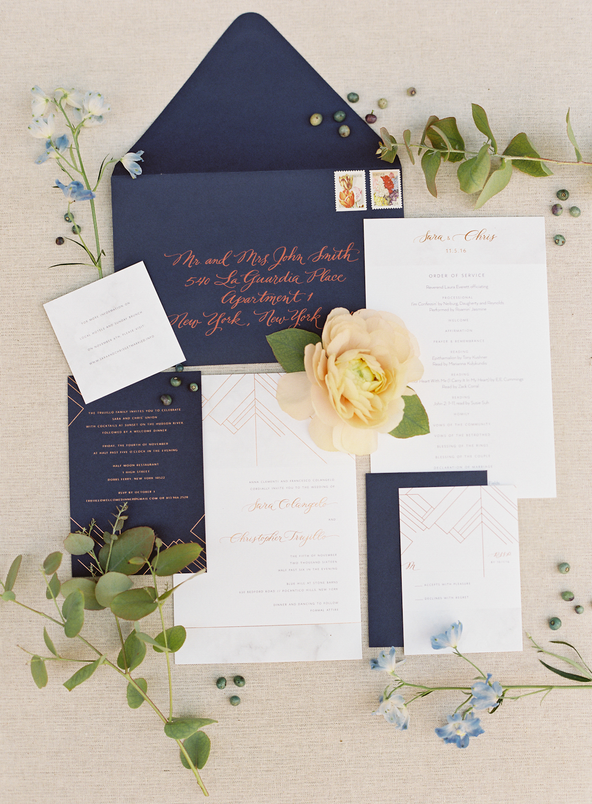 Blue Hill at Stone Barns wedding, event planner Ang Weddings and Events, photography Judy Pak, wedding invitations Katie Fischer Design