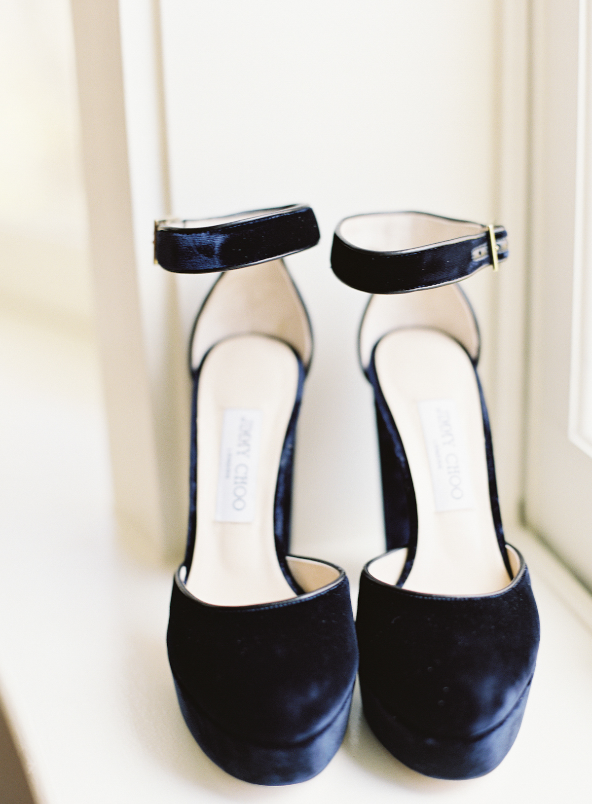 Blue Hill at Stone Barns wedding, event planner Ang Weddings and Events, photography Judy Pak, navy velvet wedding shoes